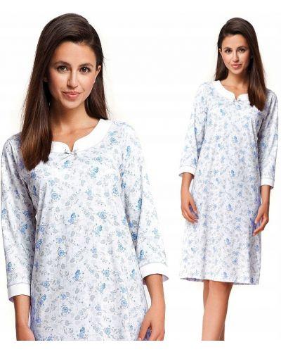 Biała koszula nocna bawełniana w kwiaty Luna