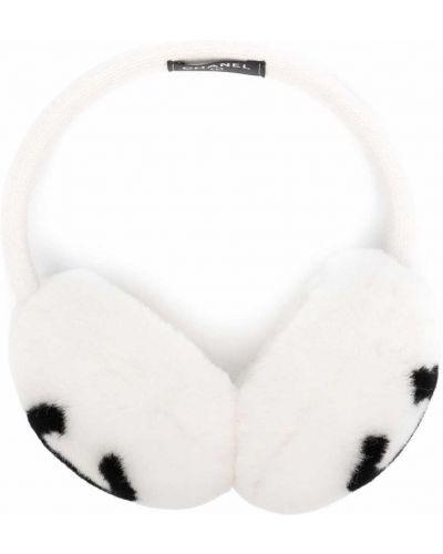Кашемировые белые меховые наушники с мехом Chanel Pre-owned