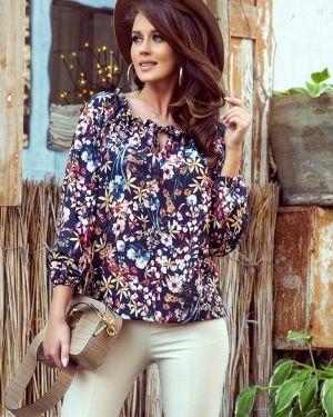 Bluzka oversize w kwiaty materiałowa Numoco