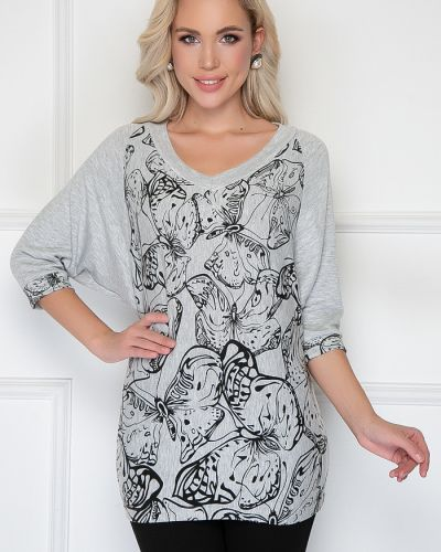 Блузка с принтом - серая Bellovera