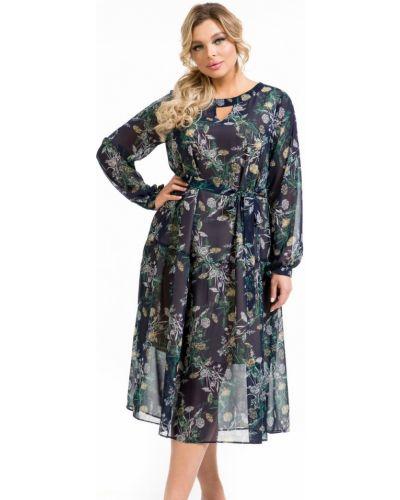 Свободное шифоновое платье миди с поясом Novita