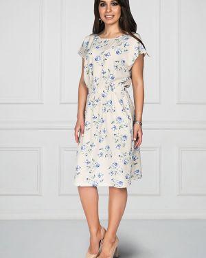 Платье с поясом с цветочным принтом классическое Bellovera