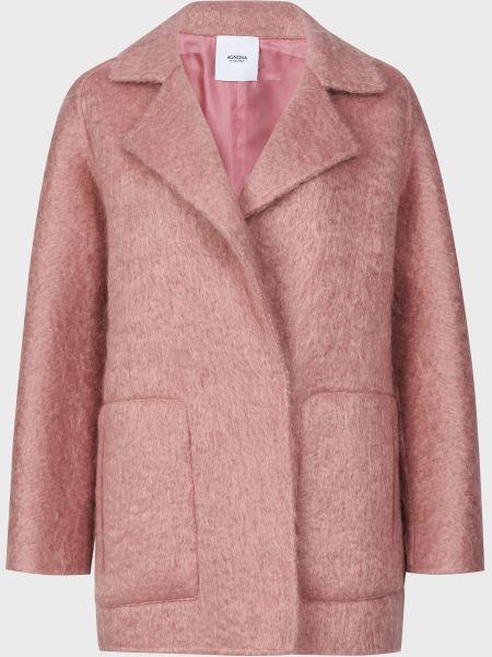 Розовое шерстяное пальто на кнопках Agnona