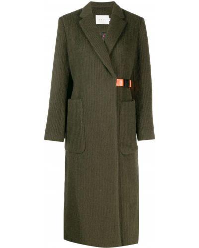 Коралловое шерстяное длинное пальто с поясом с пряжкой Neul