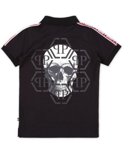 Рубашка черная с надписью Philipp Plein Kids