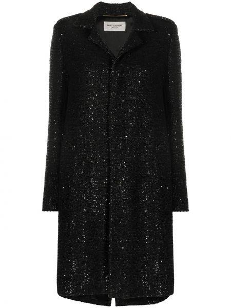 Прямое черное длинное пальто с разрезом Saint Laurent