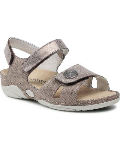Brązowe brokatowe sandały Berkemann