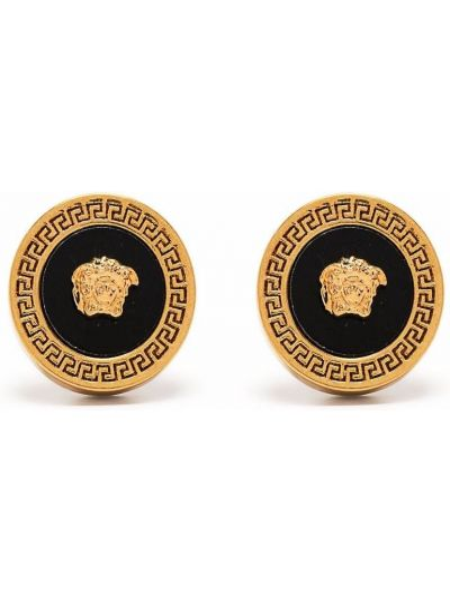 Złote kolczyki sztyfty - czarne Versace Collection