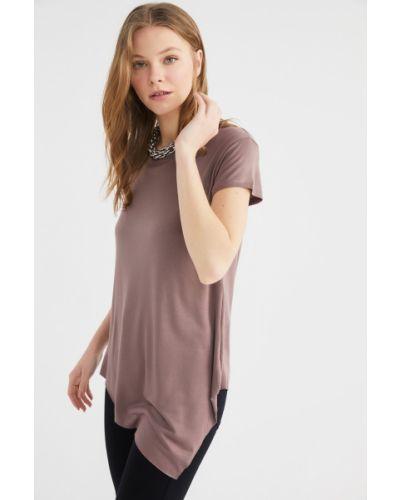 Bluzka asymetryczna - brązowa Trendyol