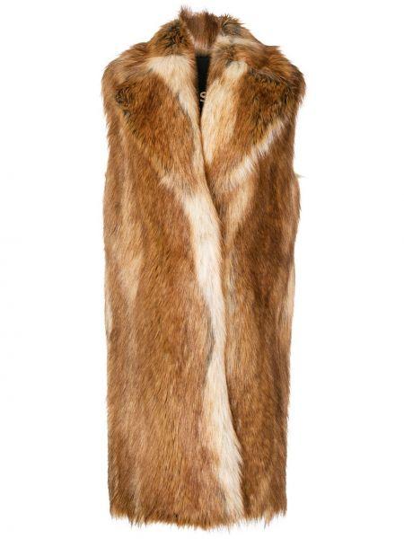 Коричневое пальто из искусственного меха без рукавов Philosophy Di Lorenzo Serafini