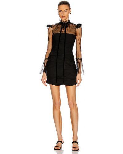 Бархатное черное платье макси с декольте Khaite