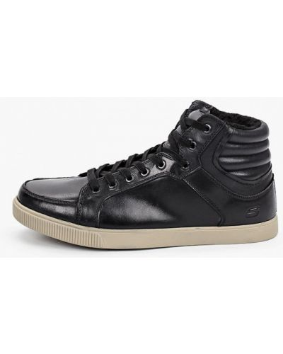Кожаные черные высокие кеды Skechers