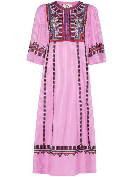 Różowa sukienka mini krótki rękaw z wiskozy Figue