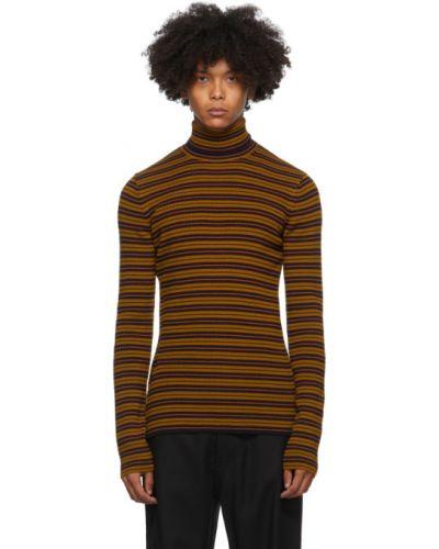 Żółty sweter wełniany w paski Dries Van Noten
