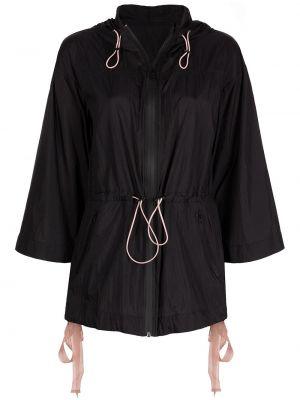 Нейлоновая черная спортивная куртка с капюшоном Marchesa