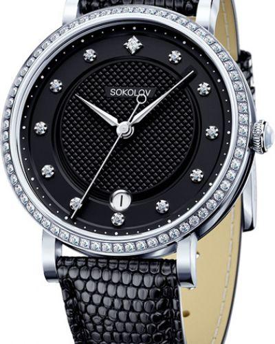 Кварцевые часы на кожаном ремешке с камнями Sokolov