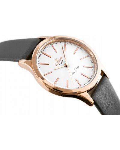 Klasyczny różowy złoty zegarek na skórzanym pasku Gino Rossi