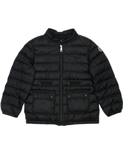 Nylon z rękawami czarny kurtka z kieszeniami Moncler