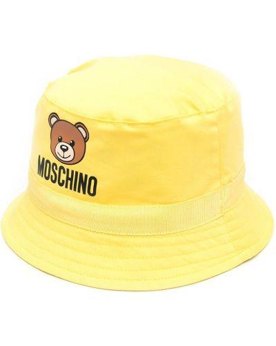 Ватная хлопковая желтая шапка Moschino Kids