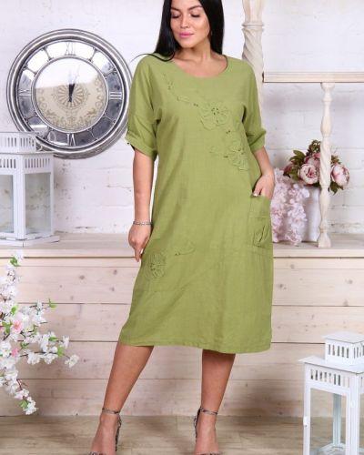 Льняное зеленое платье инсантрик