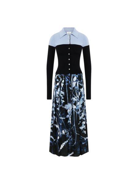 Платье миди осеннее синее Sara Roka