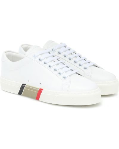 Белые классические кожаные кроссовки с нашивками из натуральной кожи Burberry