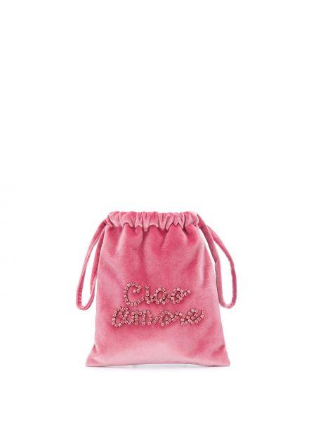 Różowa torba na ramię z aksamitu Giada Benincasa