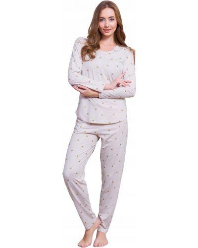 Beżowa piżama bawełniana z długimi rękawami Vienetta