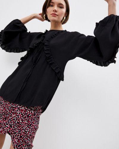 Черная блузка с оборками N°21