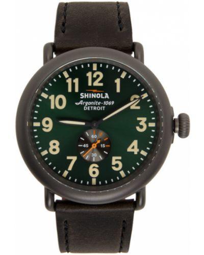Zielony zegarek na skórzanym pasku srebrny z klamrą Shinola