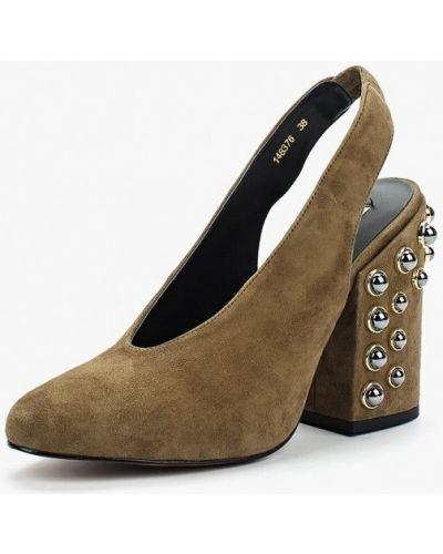 Туфли на каблуке с открытой пяткой замшевые Vitacci