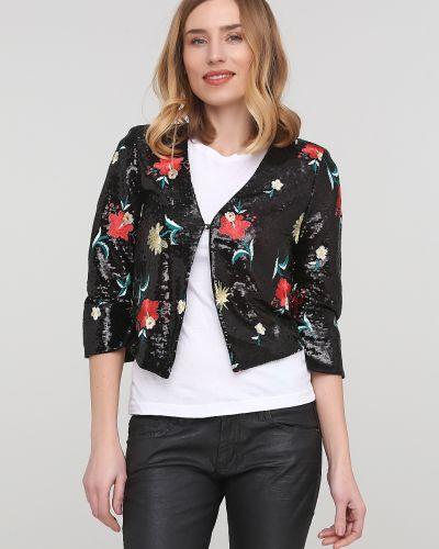 Черный удлиненный пиджак с пайетками с подкладкой Gaudi