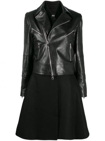 Черное кожаное длинное пальто с воротником Neil Barrett