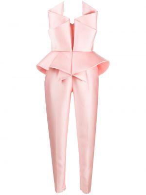 Шелковый розовый комбинезон на молнии узкого кроя Azzi & Osta
