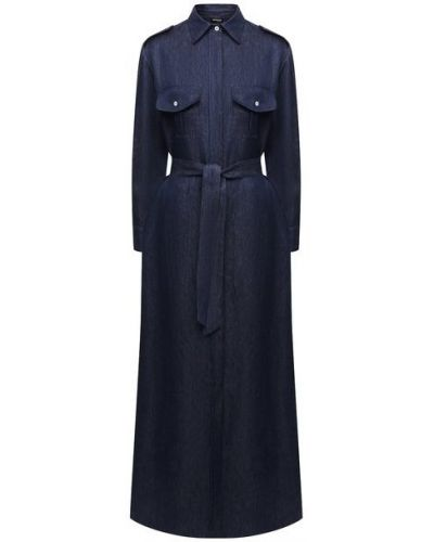 Льняное платье - синее Kiton
