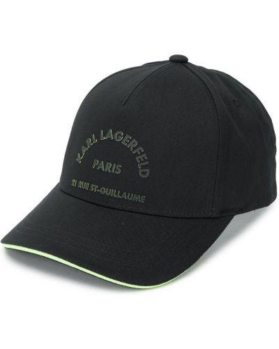 Wełniany czarny z paskiem baseball czapka baseballowa Karl Lagerfeld