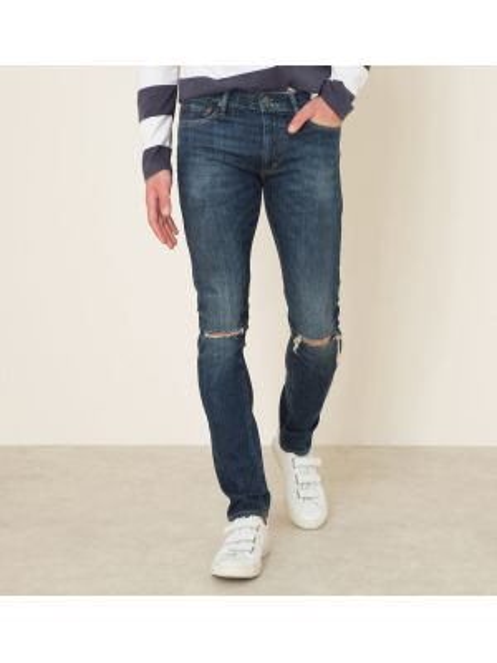 Зауженные джинсы-скинни стрейч с заклепками из микрофибры Denim & Supply Ralph Lauren
