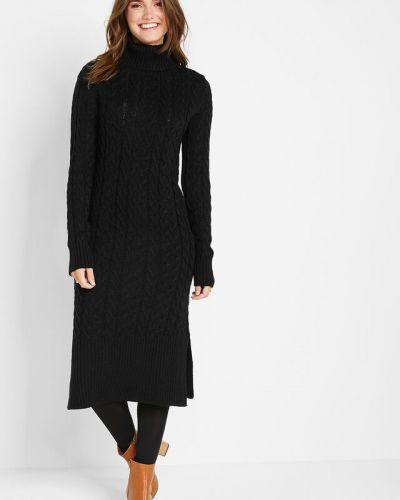Вязаное платье макси - черное Bonprix