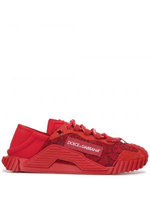 Кроссовки на шнуровке - красные Dolce & Gabbana