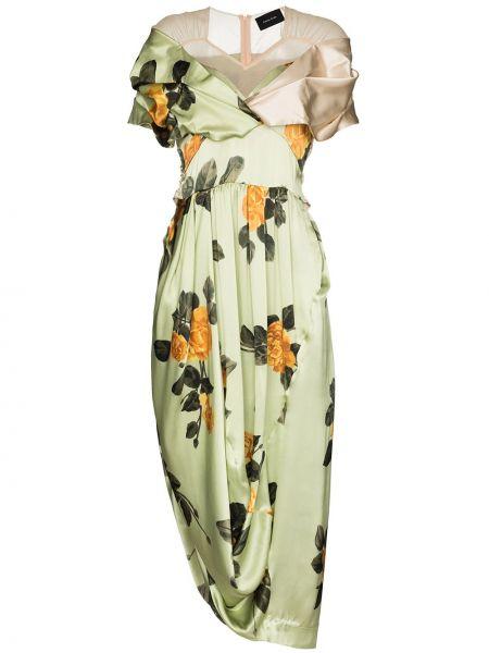 Асимметричное шелковое платье со вставками с драпировкой Simone Rocha