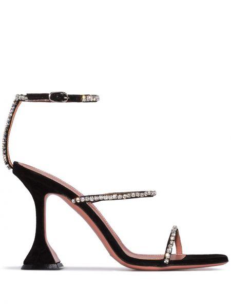 Черные кожаные туфли с открытым носком с пряжкой с тиснением Amina Muaddi