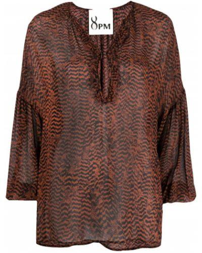 Черная блузка из вискозы с V-образным вырезом 8pm