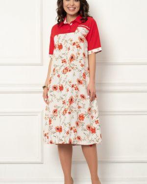 С рукавами платье мини из штапеля с манжетами с карманами Bellovera