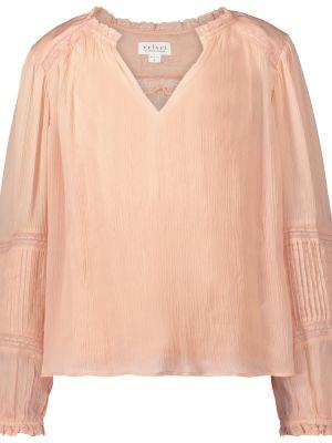 Bluzka z aksamitu - różowa Velvet
