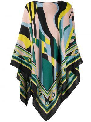 Шелковое асимметричное зеленое пончо без застежки Emilio Pucci
