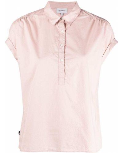 Розовая классическая рубашка с короткими рукавами с воротником Woolrich