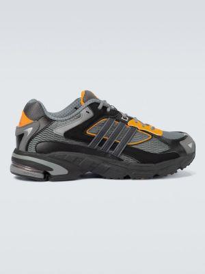 Skórzany czarny sneakersy z siatką siatkowaty Adidas Originals