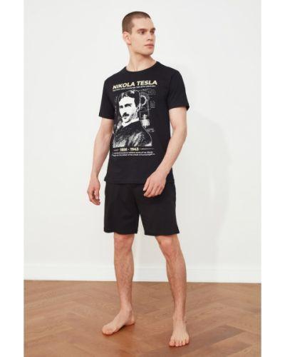 Czarna piżama bawełniana Trendyol