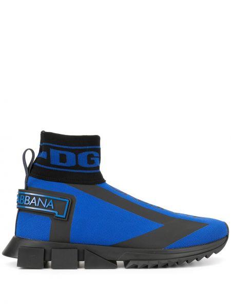 Niebieski wysoki sneakersy skórzany Dolce And Gabbana