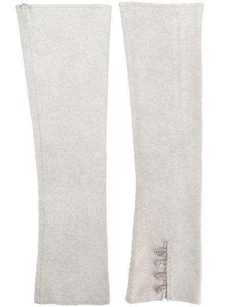 Серые кожаные перчатки на пуговицах Olsthoorn Vanderwilt
